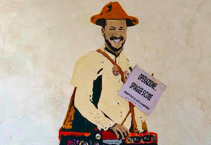 matteo salvini vu cumprà in un murales di Tvboy a Giardini Naxos – messina