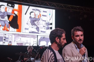Foto di Lelio Bonaccorso durante la presentazione della graphic novel Salvezza al Capo Peloro Fest 2018