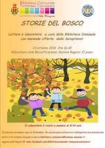 """locandina del laboratorio di lettura per bambini """"storie di bosco"""" organizzato dalla biblioteca comunale tommaso cannizzaro di messina"""