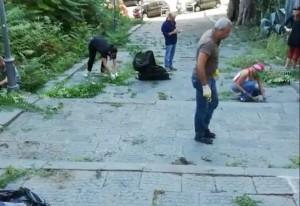 pulizia delle scalinate ad opera di puli-amo messina