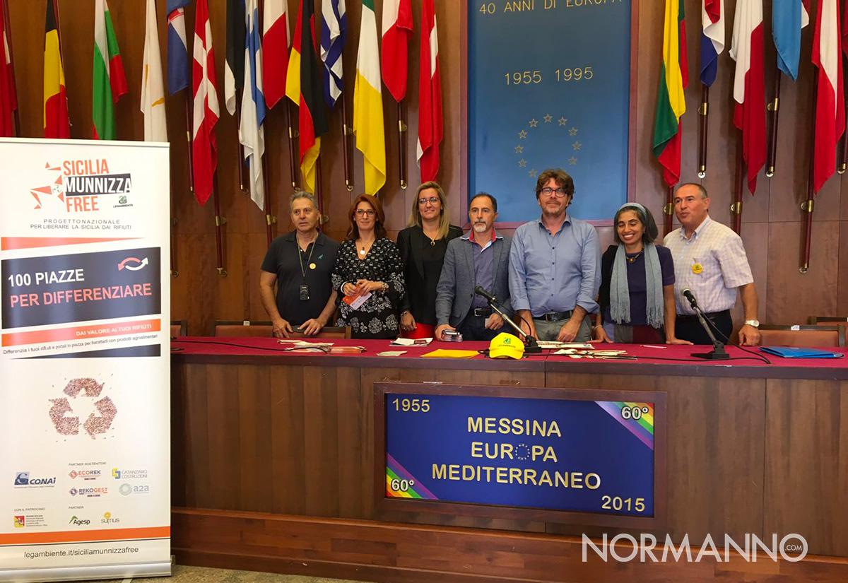 foto della conferenza stampa a messina del progetto sicilia munnizza free, progetto per la raccolta differenziata
