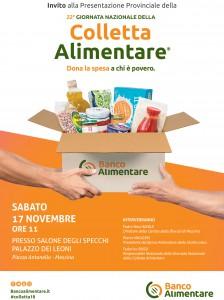 locandina della XXIII giornata nazionale della colletta alimentare che si svolgerà il 24 novembre e coinvolgerà anche Messina