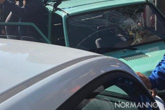 foto di un incidente avvenuto all'incrocio tra viale giostra e via garibaldi, a Messina, che ha coinvolto una panda e una 500