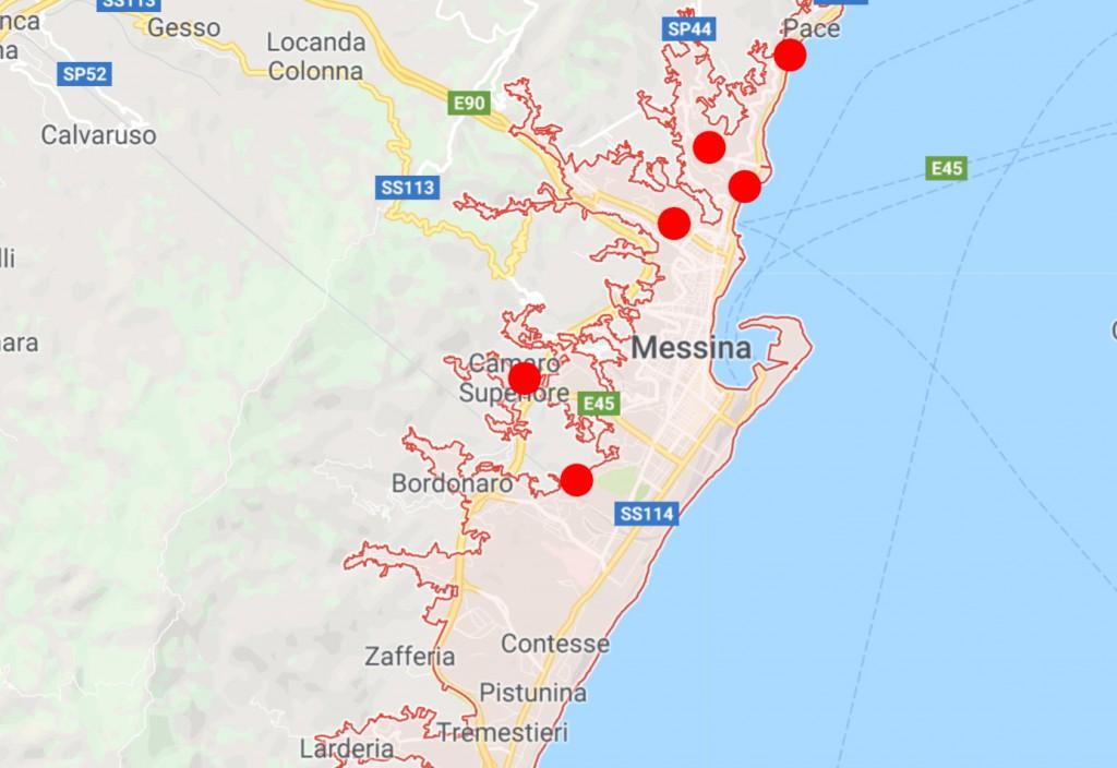 mappa emergenza rifiuti a messina