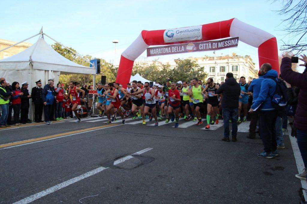 Foto della partenza della Messina Marathone