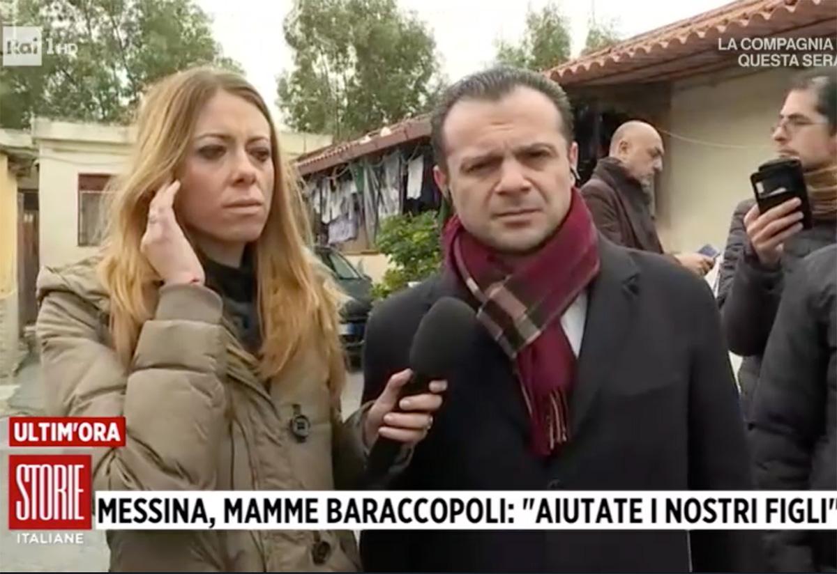 cateno de luca a rione taormina a Messina in collegamento con storie italiane su rai 1