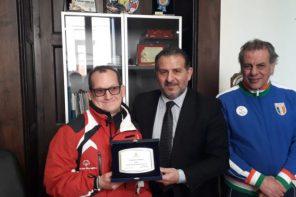 Massimo Girolamo a Palazzo Zanca prima di partire per gli Special Olympics