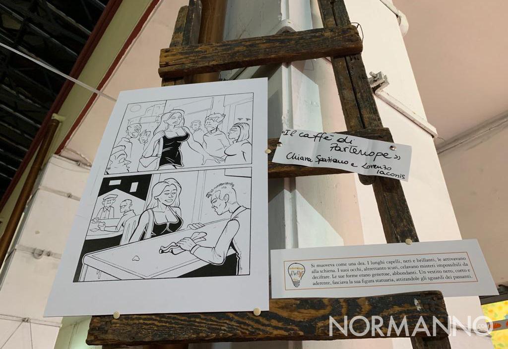 Tavola di uno dei graphic novel realizzati durante i laboratori di Periferiche Energie 2019 ed esposti al mercato muricello di messina