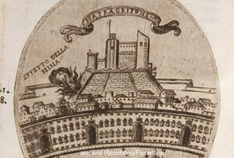 stampa d'epoca del castello mata grifone di messina