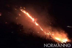 Vasto incendio ad Ortoliuzzo. Fiamme a ridosso dell'autostrada A20 Messina – Palermo