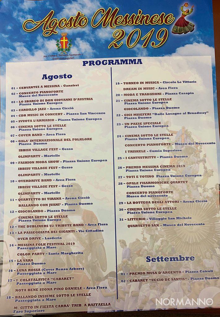 programma dell'agosto messinese 2019