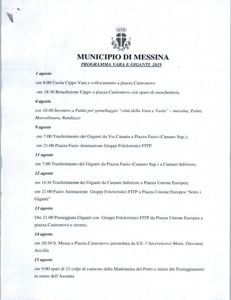 programma vara e giganti 2019 approvato dalla giunta de luca a messina