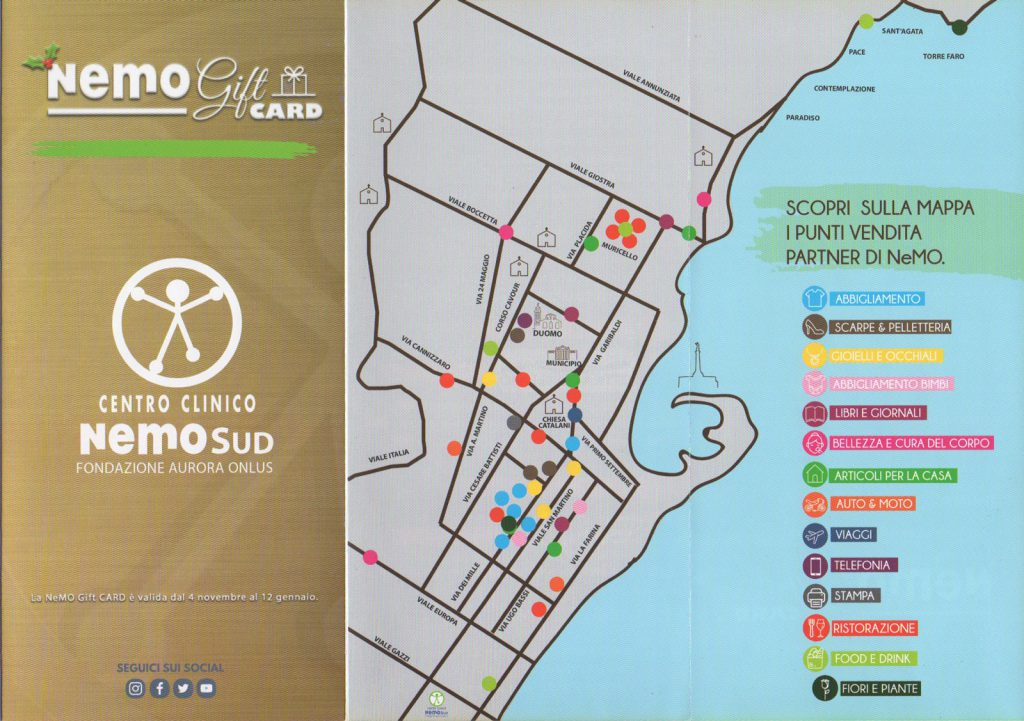 Scansione della mappa dei punti vendita a Messina aderenti all'iniziativa Nemo gift card