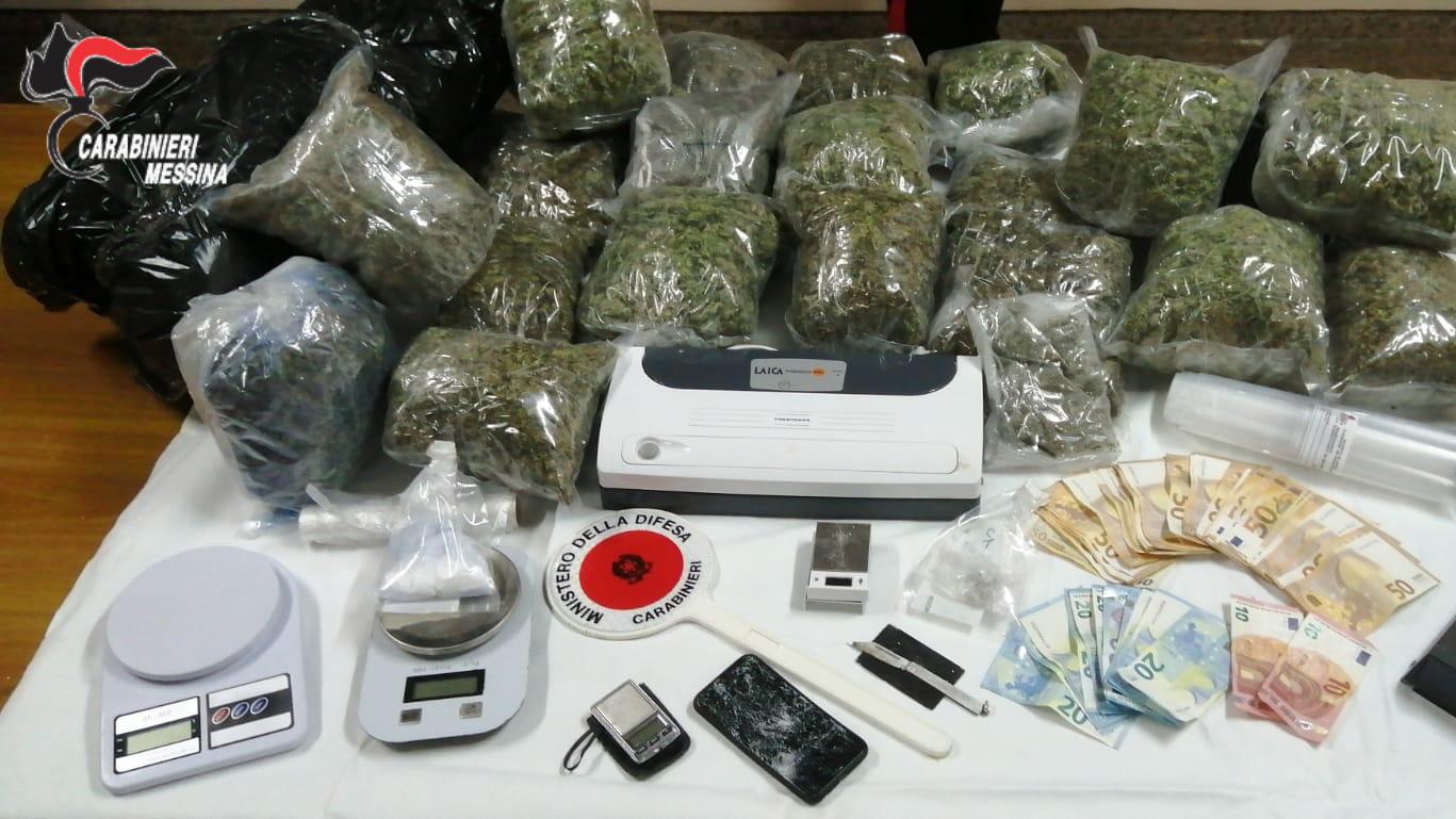 droga del tipo marijuana sequestrata a seguito di un arresto dei carabinieri nel rione Gazzi a Messina