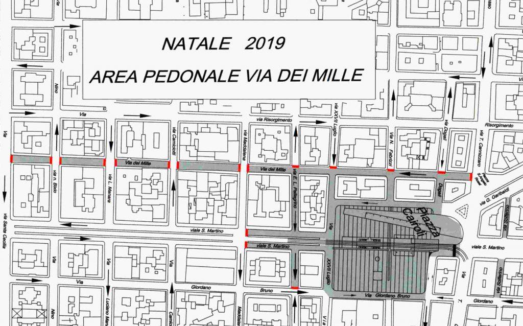 mappa dell'isola pedonale di natale in via dei mille a messina