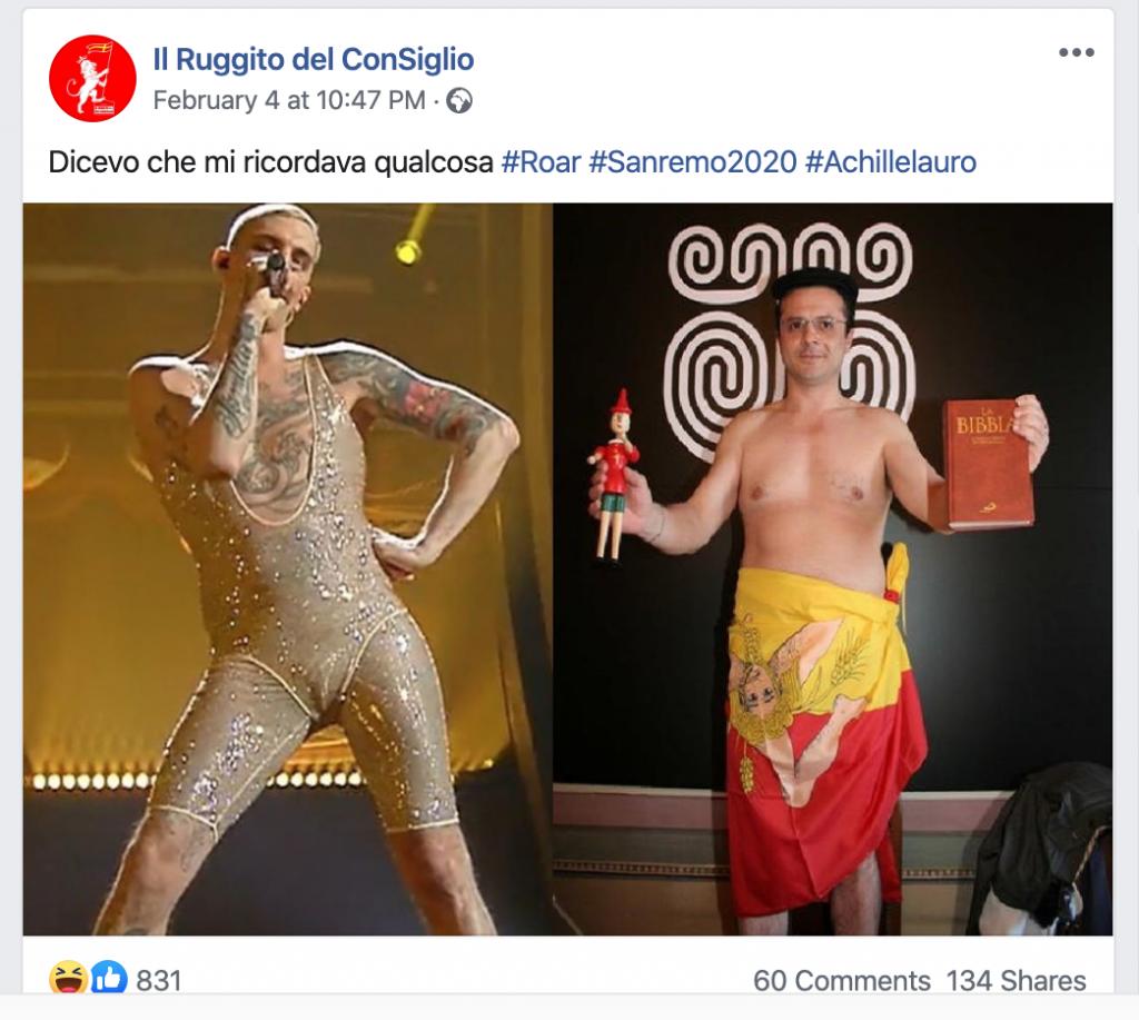 post del Ruggito del Consiglio su Sanremo2020