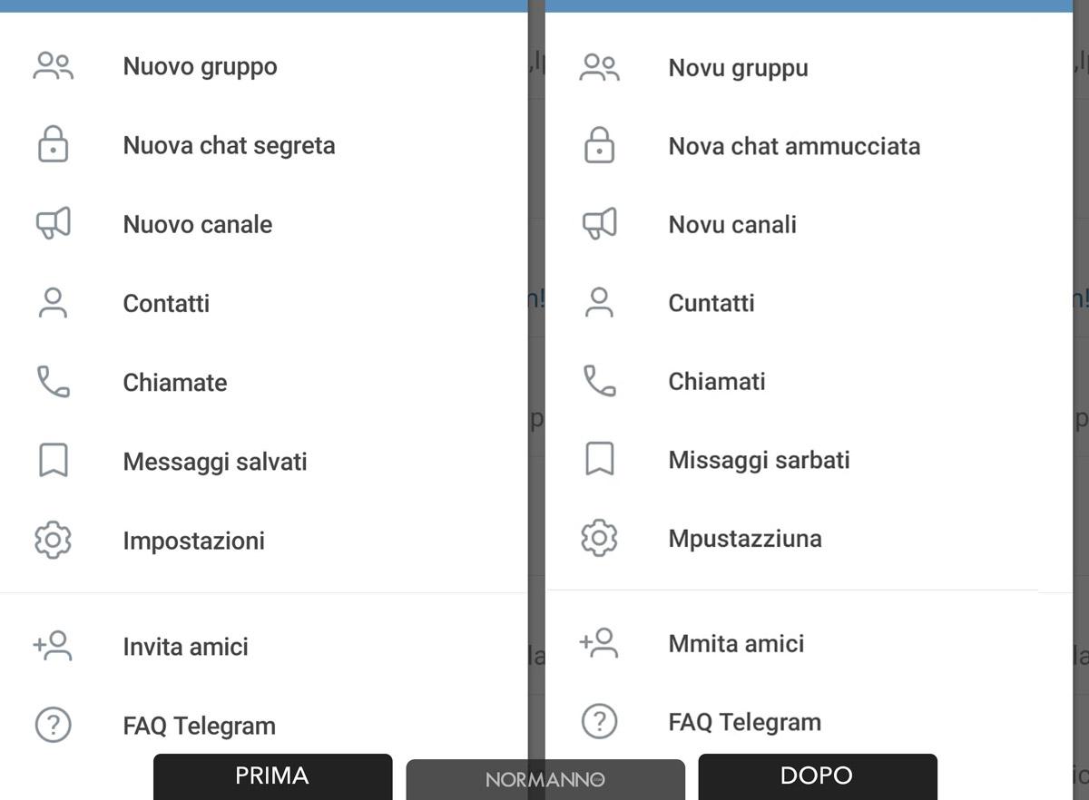 impostazioni telegram dall'italiano al siciliano