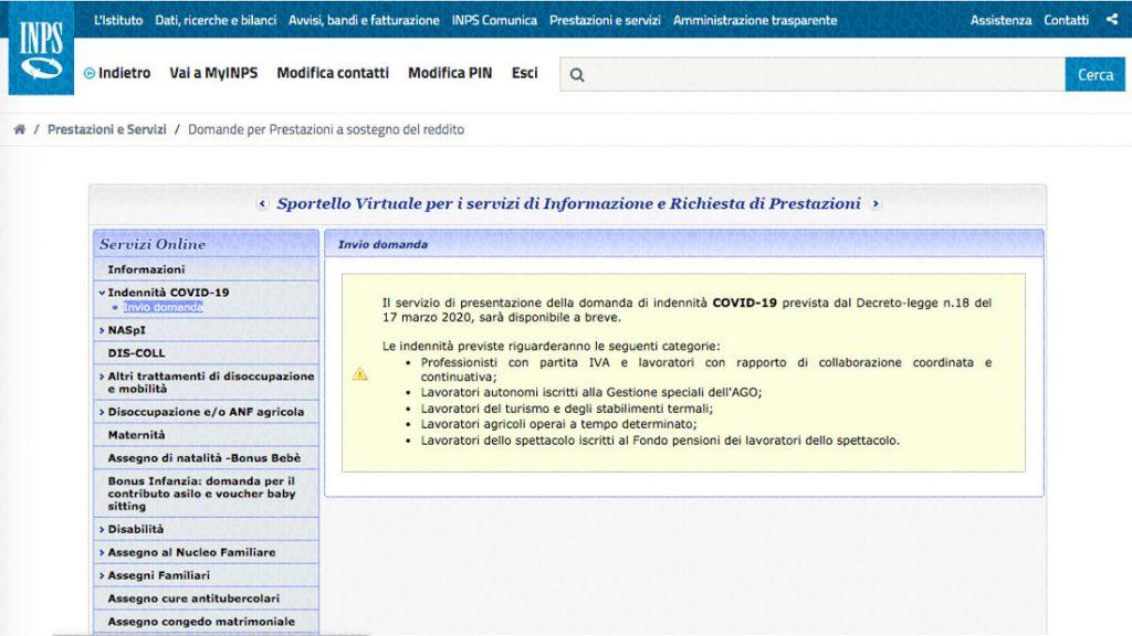 Guida domanda bonus 600 euro INPS - Step 03
