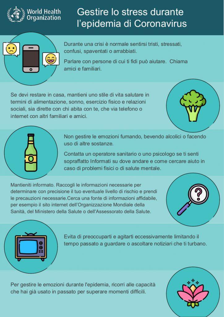 infografica su come gestire lo stress da coronavirus (OMS e Ministero della Salute) (italiano)