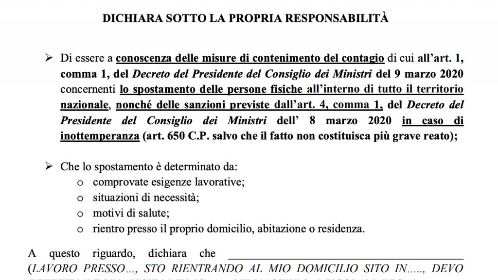 modulo di autocertificazione per gli spostamenti in italia, coronavirus