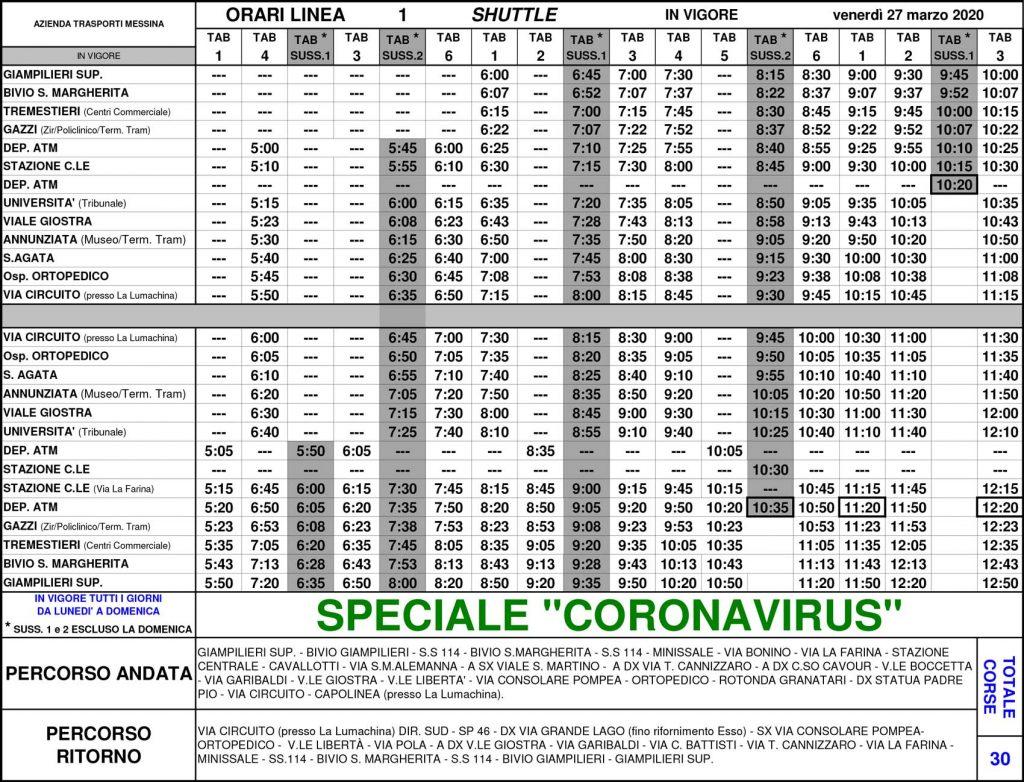 tabella con gli nuovi orari dei bus shuttle di atm messina per il coronavirus