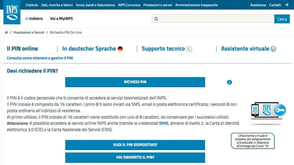 Richiedi PIN semplificato sito INPS - bonus lavoratori autonomi