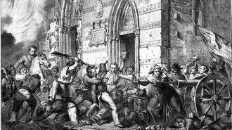 stampa d epoca del duomo di messina durante i moti dell 800. Nell immagine, Rosa Donato, la cannoniera