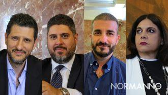 collage del gruppo del pd in consiglio comunale: felice calabrò, gaetano gennaro, alessandro russo, antonella russo