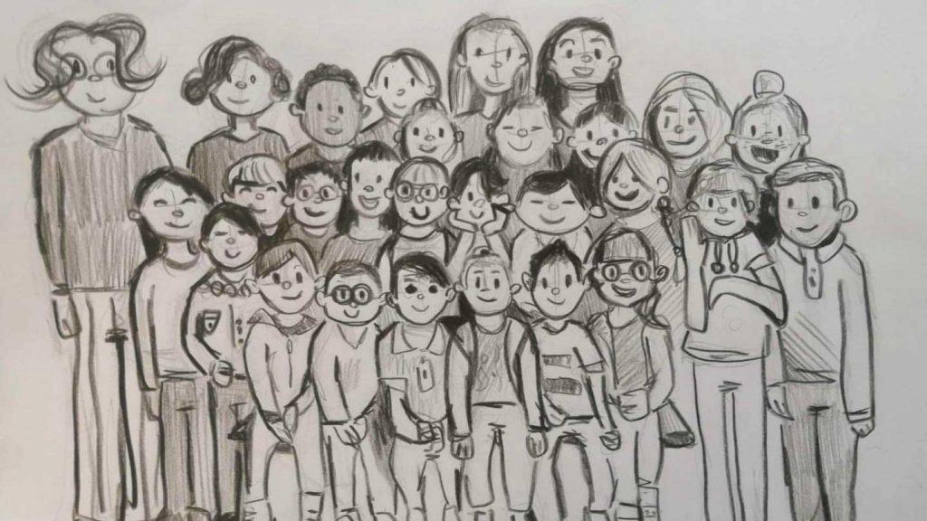 belle notizie da messina e dal mondo: foto di classe disegnata da un bambino delle elementari