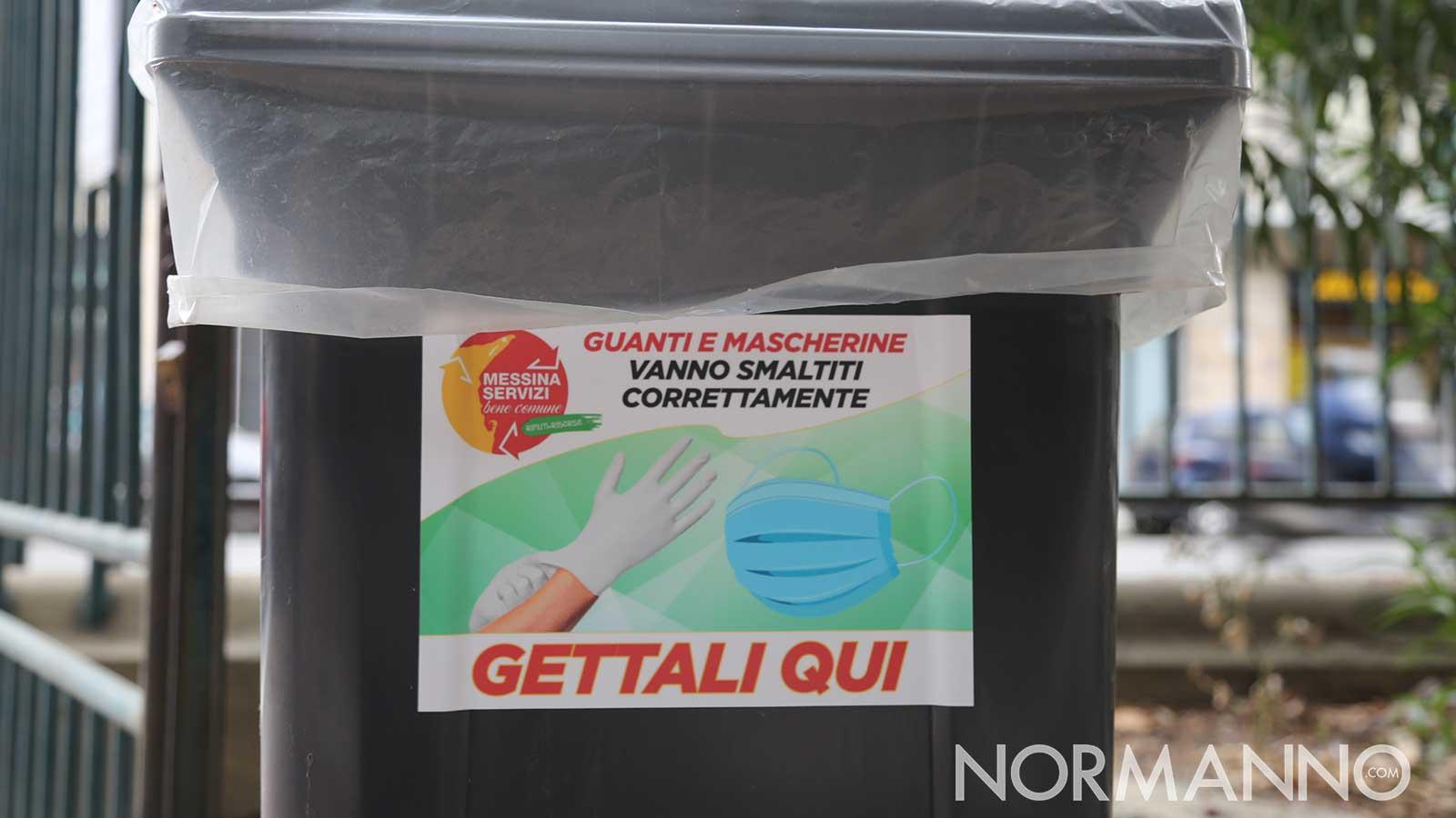 cartello di messinaservizi bene comune su dove gettare guanti e mascherine usate