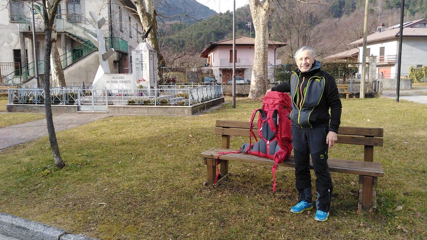 elio brusamento, ex alpino percorre italia a piedi e arriva a messina da udine