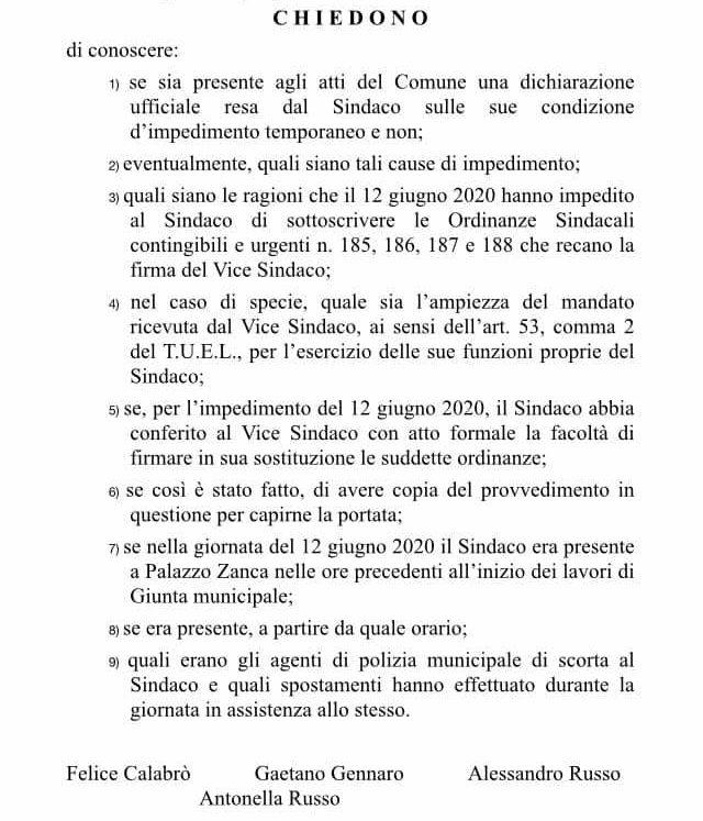 interrogazione di quattro componenti del gruppo consiliare del pd di messina sull'impedimento e l'assenza del sindaco Cateno De Luca