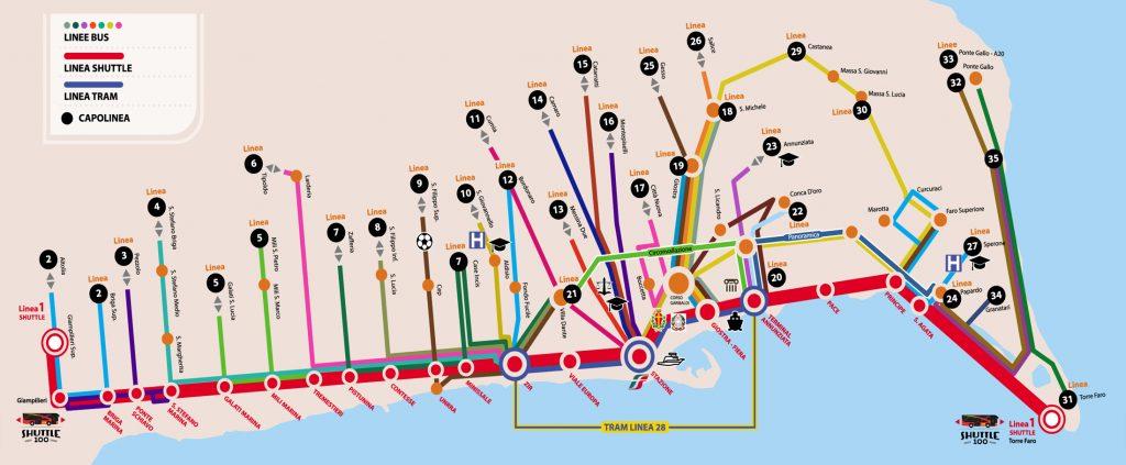 mappa dei bus e dei tram di ATM Messina