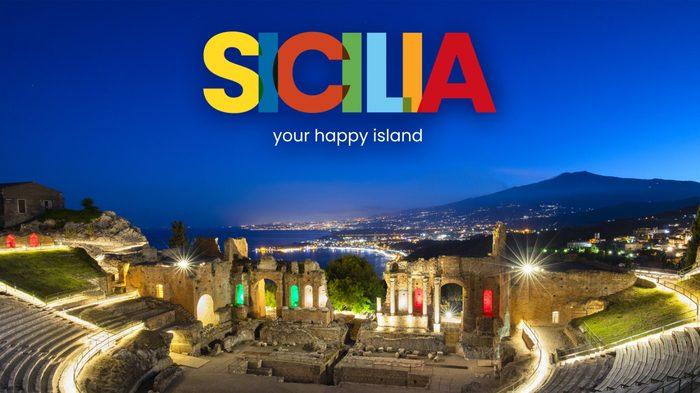 """foto con logo della nuova campagna di promozione del turismo in Sicilia """"Happy Land"""" della Regione"""
