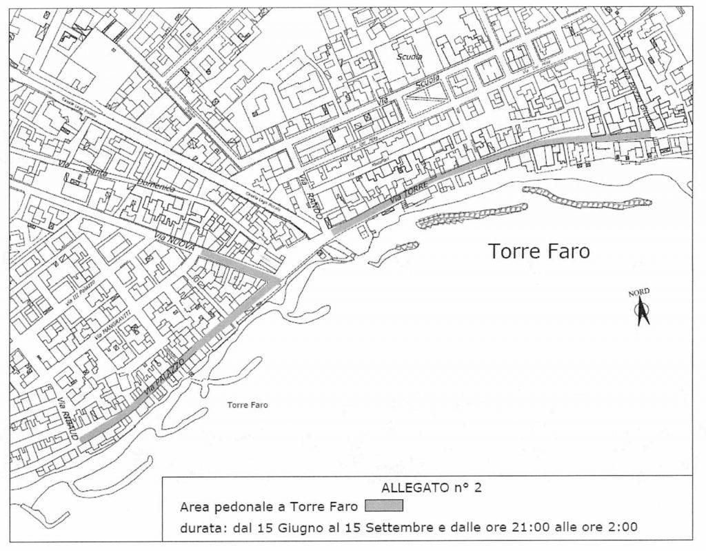 progetto pedonalizzazione torre faro estate 2020