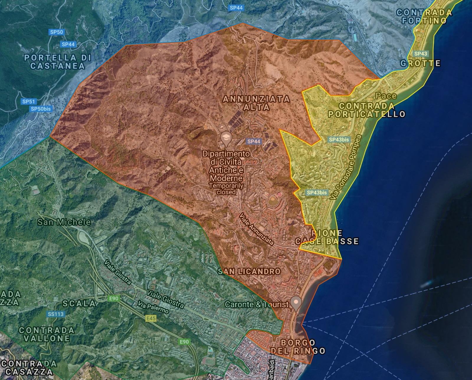 mappa della raccolta differenziata nella zona nord di messina