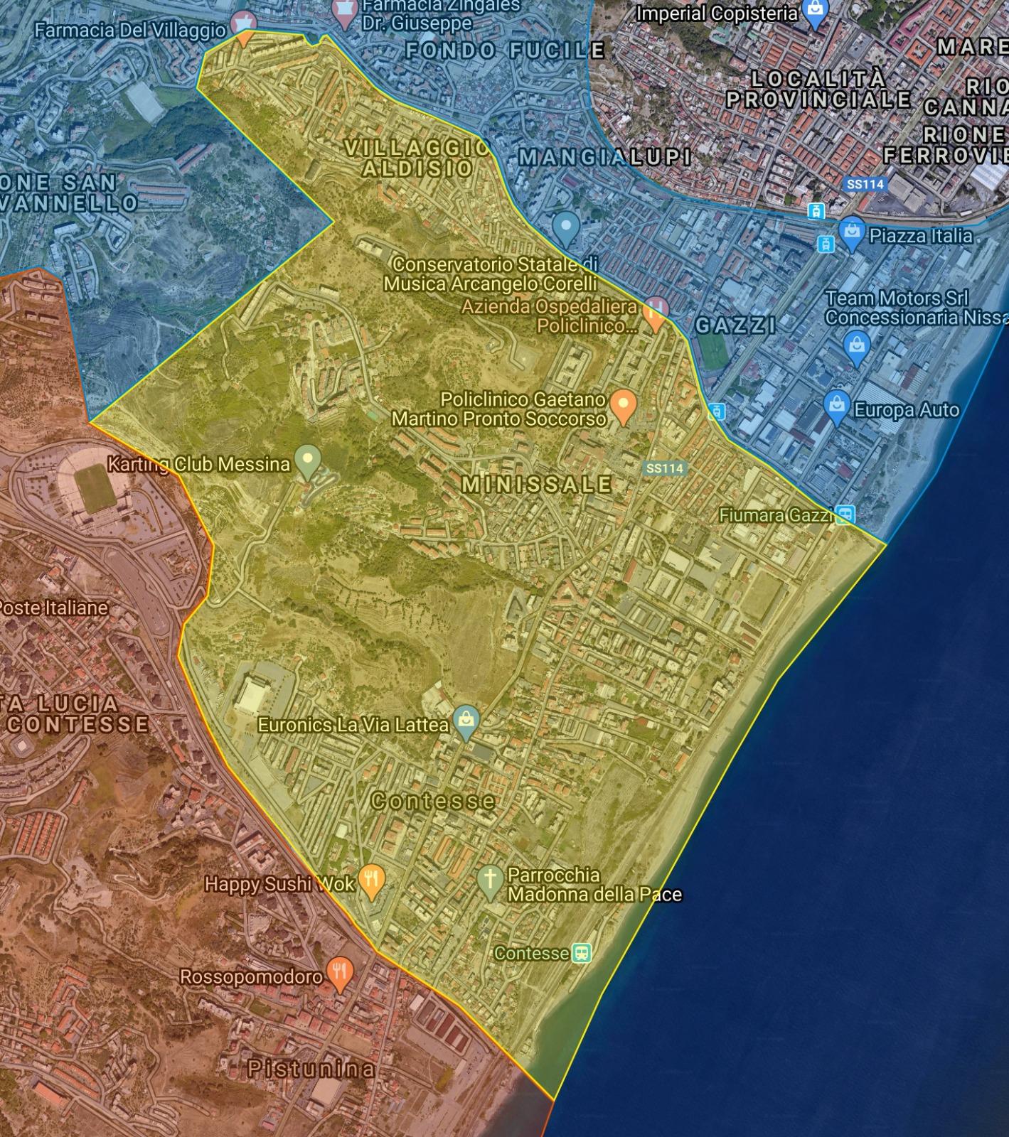 zona-sud-differenziatamappa della raccolta differenziata nella zona sud di messina