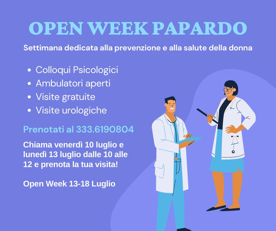locandina dell'open week all'ospedale papardo di messina: visite gratis per le donne dal 13 al 18 luglio