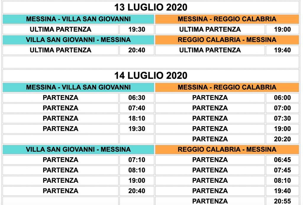 tabella delle corse garantite degli aliscafi sullo stretto di Messina (per e da Reggio Calabria, Messina e Villa San Giovanni) durante lo sciopero della blu jet del 13 e 14 luglio
