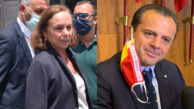 ministro dell'interno luciana lamorgese e cateno de luca, sindaco di messina