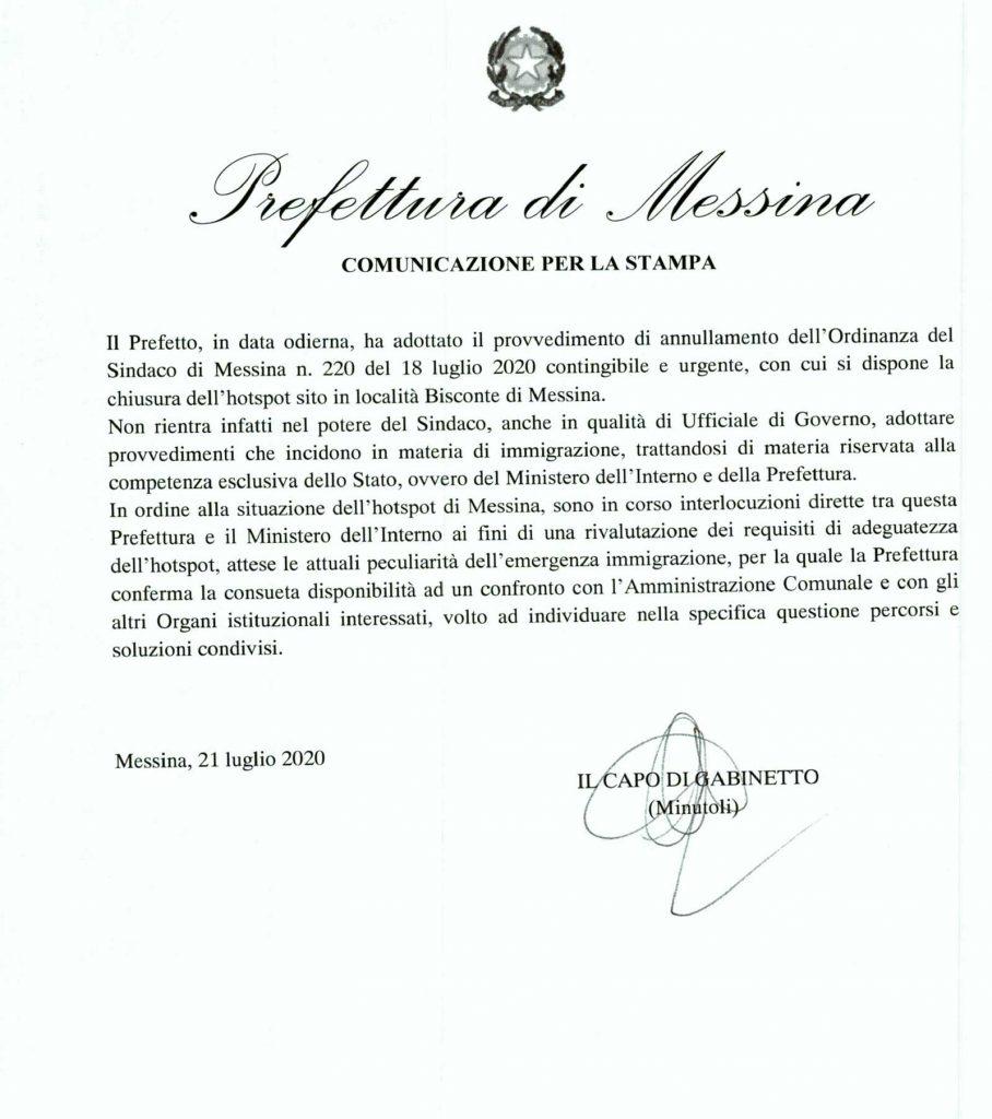 messina, il prefetto annulla l'ordinanza di chiusura dell'hotspot di bisconte del sindaco cateno de luca
