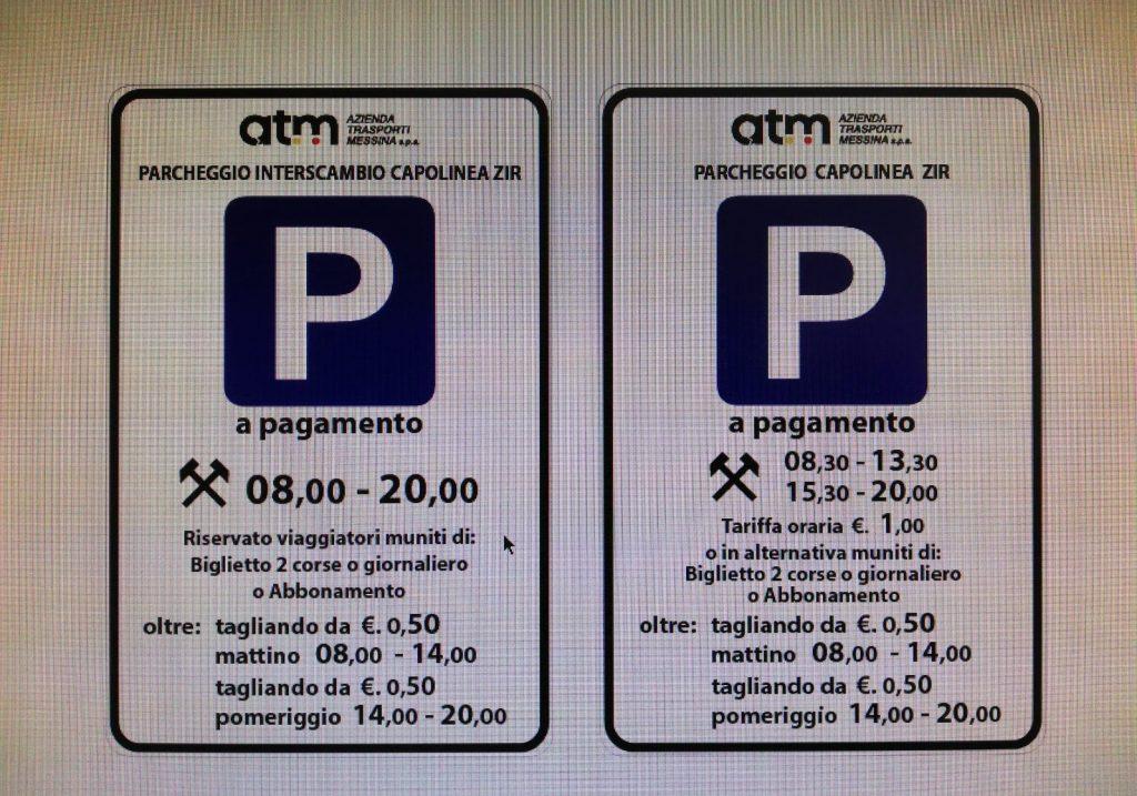 cartelli del parcheggio zir a messina con su le tariffe per la sosta oraria e interscambio