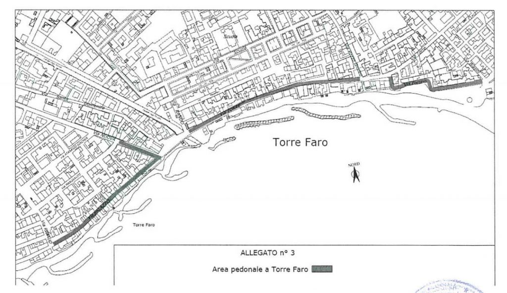 pedonalizzazione torre faro: la mappa dell'isola pedonale