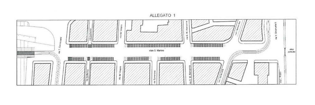 pedonalizzazione viale san martino: la mappa dell'area pedonale