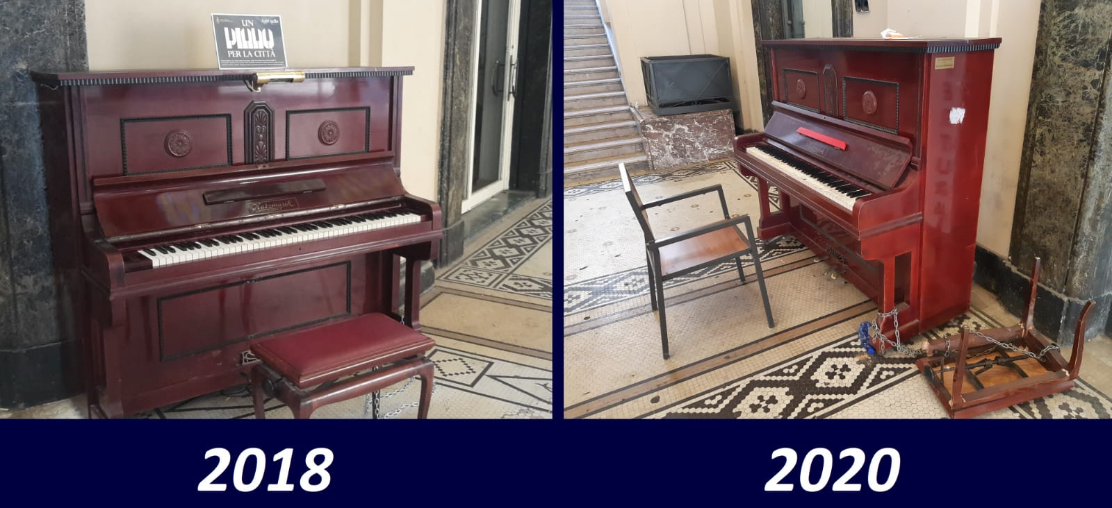 pianoforte della galleria vittorio emanuele di messina nel 2018 e nel 2020