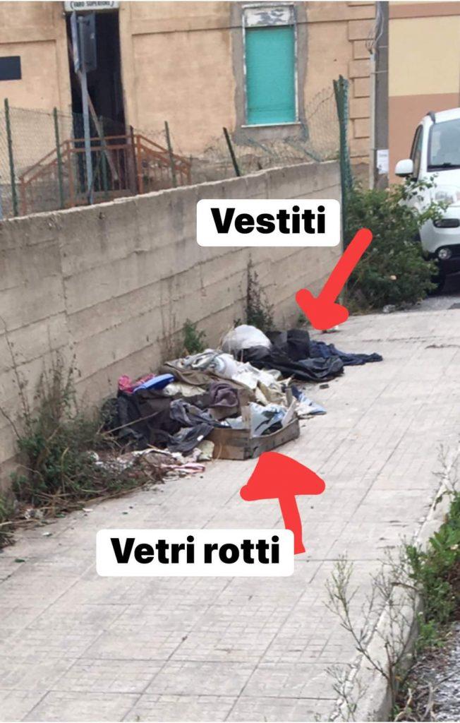 rifiuti ed erbacce vicino alla scuola di faro superiore