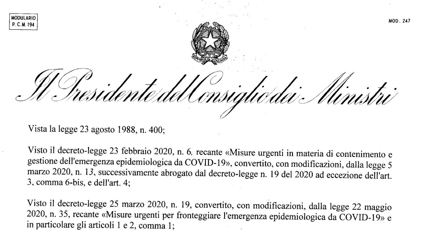 anteprima del dpcm conte del 24 ottobre 2020 contro il coronavirus