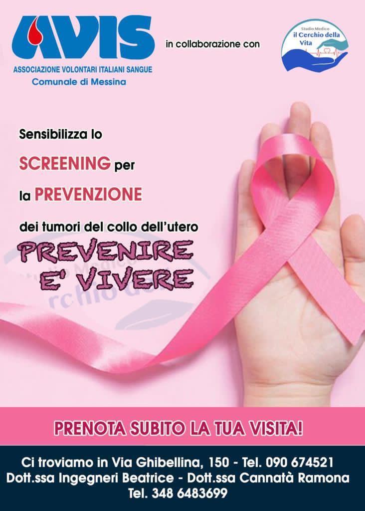 """Locandina della campagna prevenire è vivere contro il tumore al seno e al collo dell'utero organizzata da avis messina e dallo studio medico """"il cerchio della vita"""""""