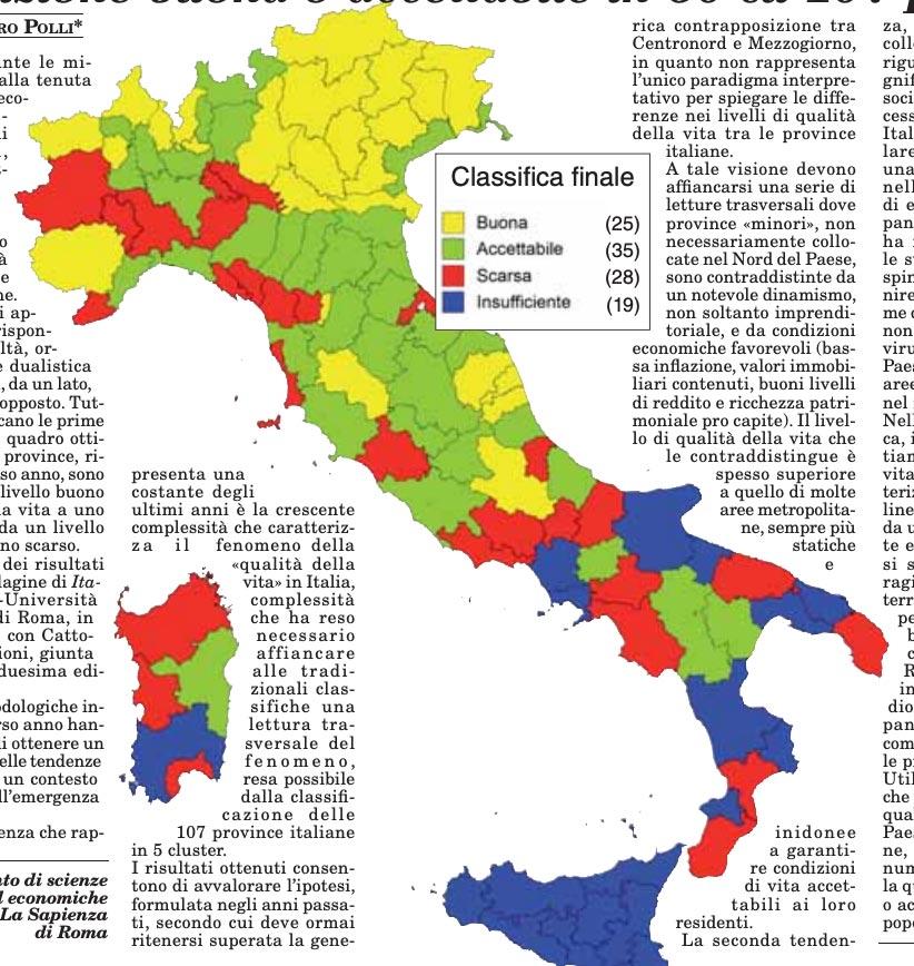 classifica della qualità della vita in italia nel 2020: la mappa