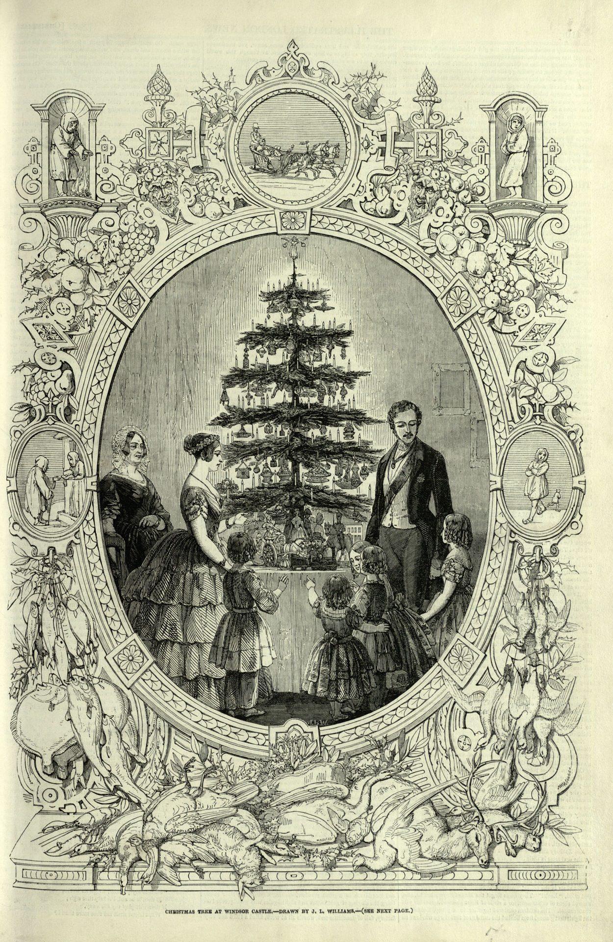 Albero di Natale della Regina d'Inghilterra Victoria, in un'illustrazione di metà '800